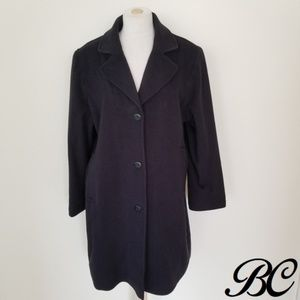 LL Bean Navy Blue Coat Long Lambswool Wool Warm